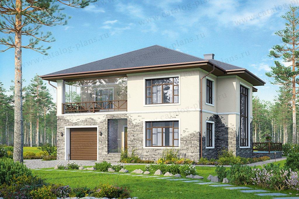 Проект жилой дом #57-54 материал - газобетон, стиль европейский