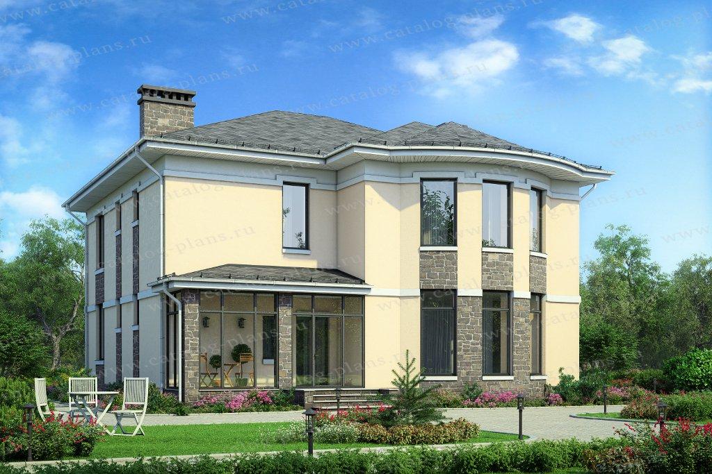 Проект жилой дом #57-60В материал - газобетон, стиль европейский