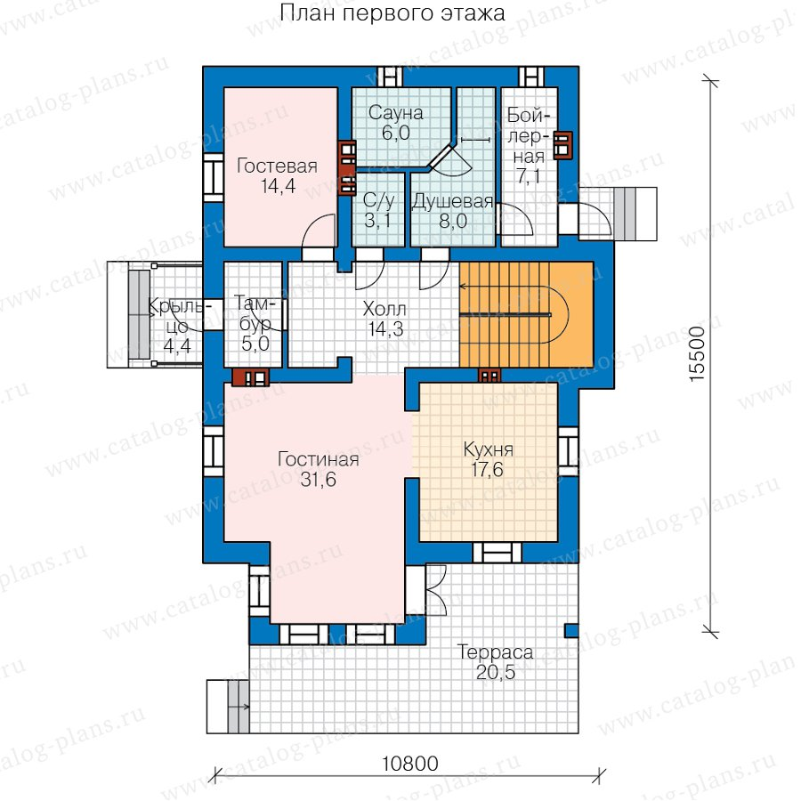 План 1-этажа проекта 58-22С