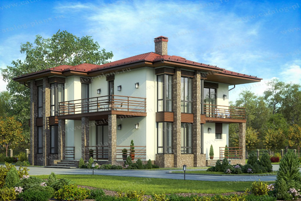 Проект жилой дом #58-95 материал - газобетон, стиль хай-тек