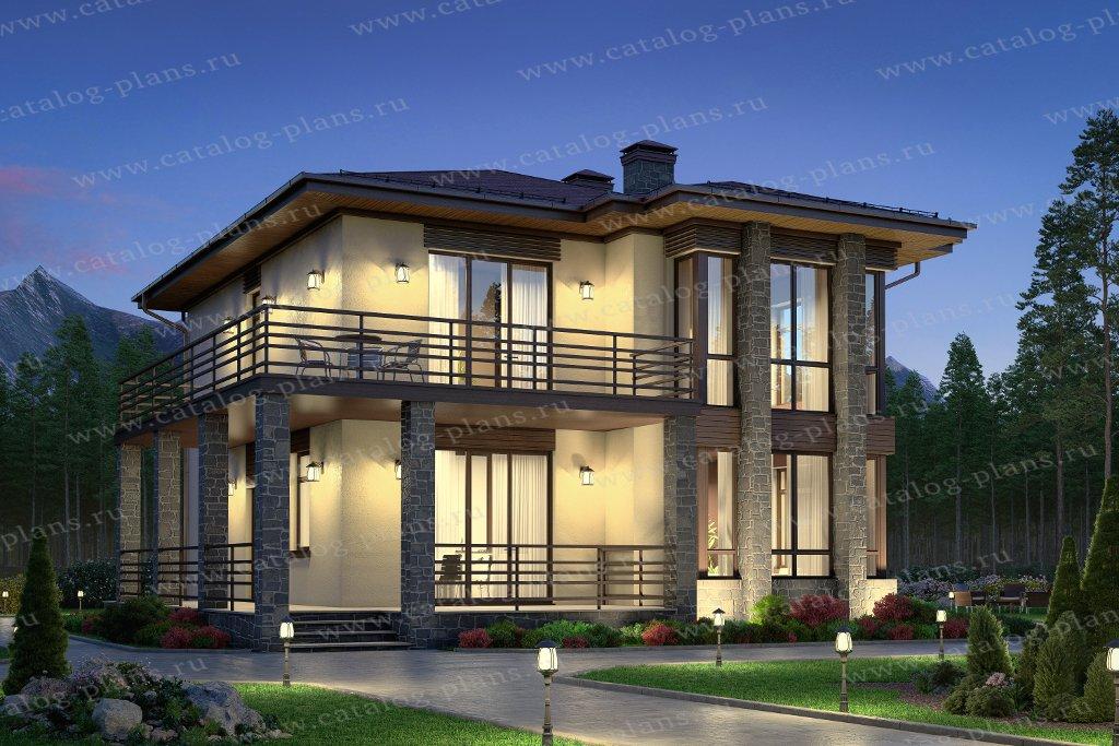 Проект жилой дом #58-92 материал - газобетон, стиль хай-тек