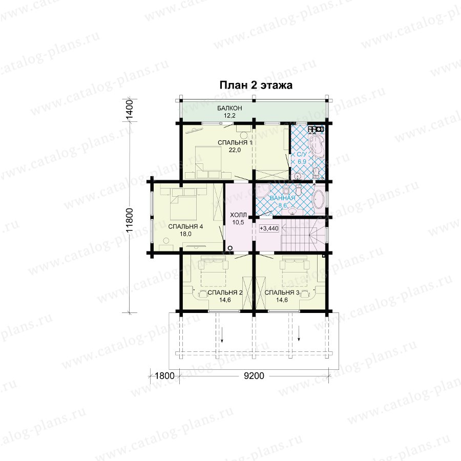 План 2-этажа проекта 13-73А