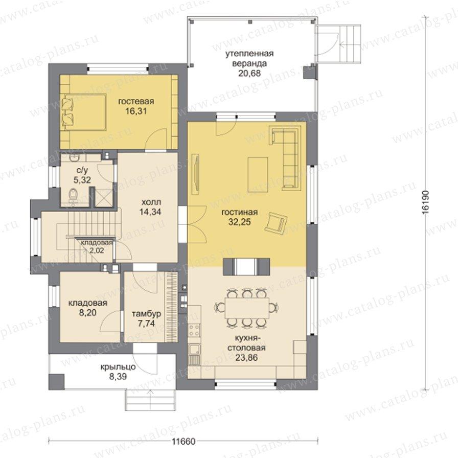 Дом из кирпича по проекту m259.