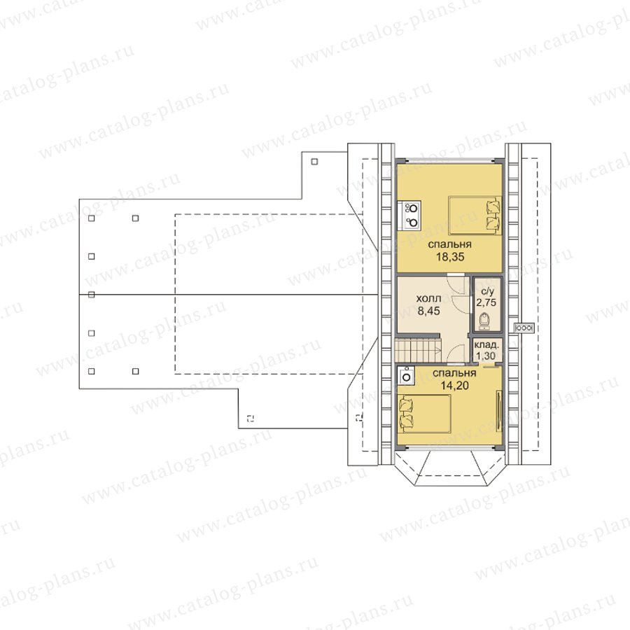 План 2-этажа проекта 13-68