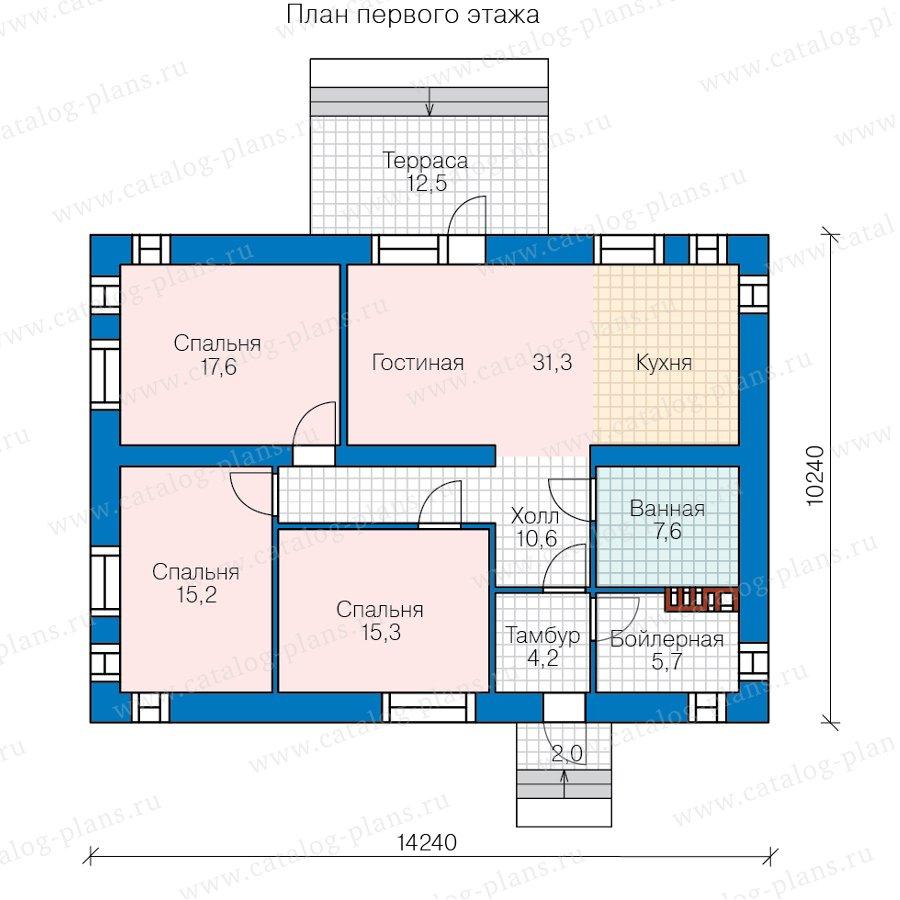 План 1-этажа проекта 40-80L