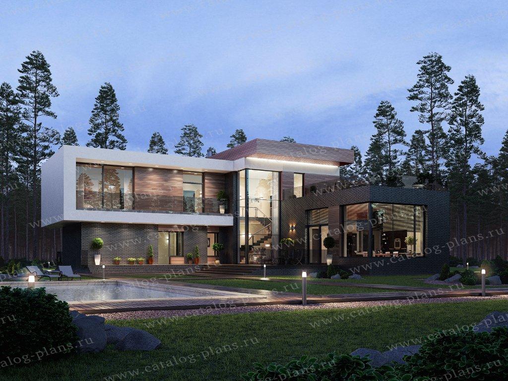 Проект жилой дом #40-84L материал - кирпич, стиль хай-тек