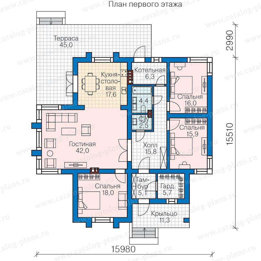 План 1-этажа проекта 62-03
