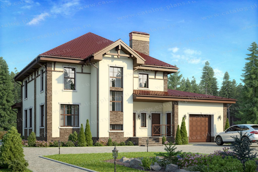 Проект жилой дом #57-20F материал - газобетон, стиль
