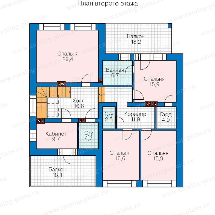 План 2-этажа проекта 40-87