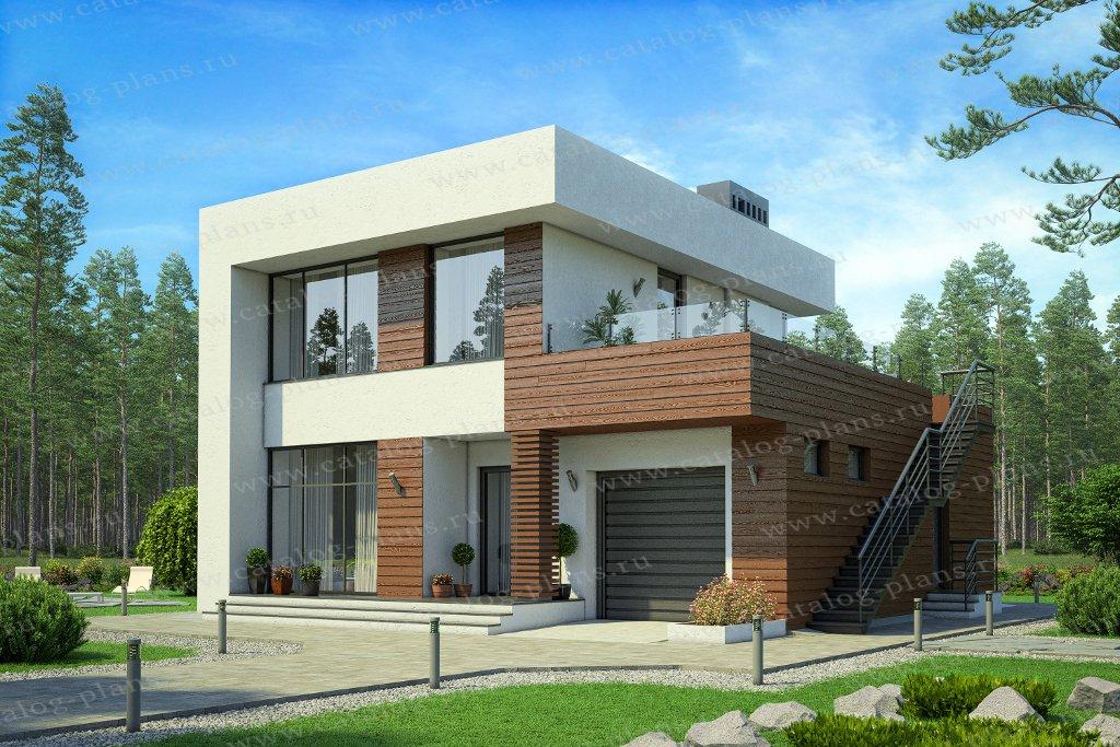 Проект жилой дом #62-07 материал - газобетон, стиль хай-тек