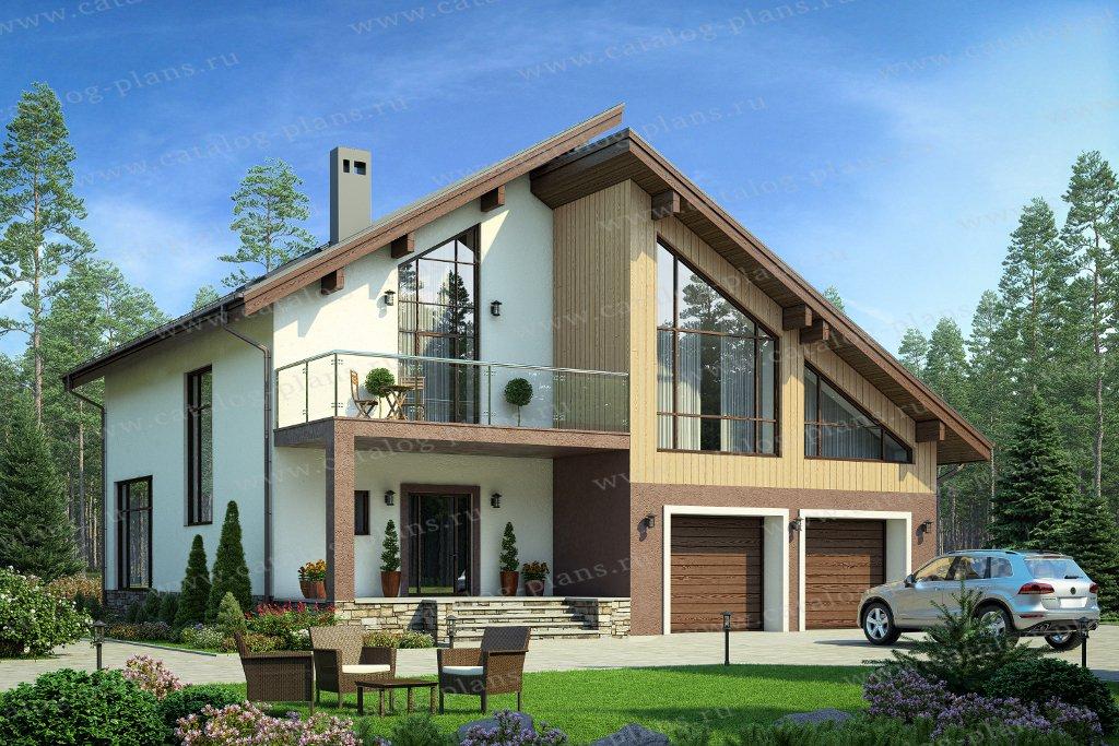Проект жилой дом #40-87 материал - кирпич, стиль хай-тек