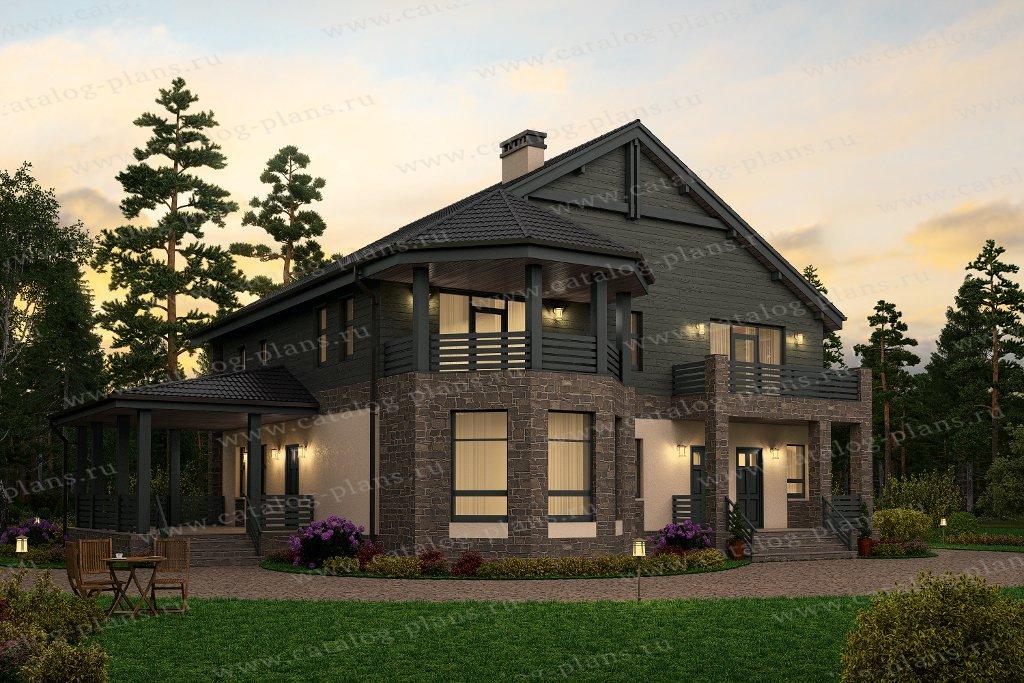 Проект двухэтажного дома из газобетона 57-34 в европейском с.