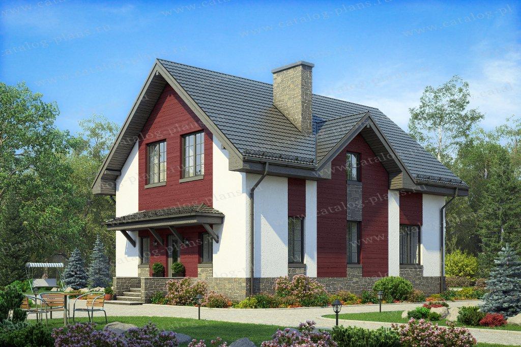 Проект жилой дом #58-86 материал - газобетон, стиль скандинавский