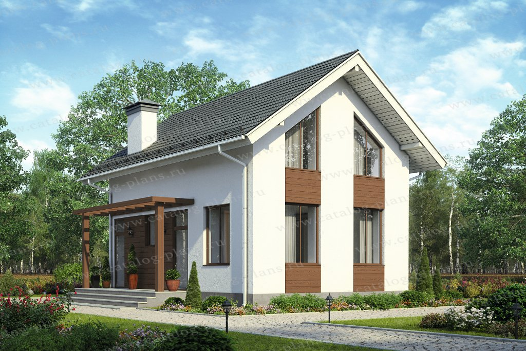 Проект жилой дом #58-67 материал - газобетон, стиль хай-тек