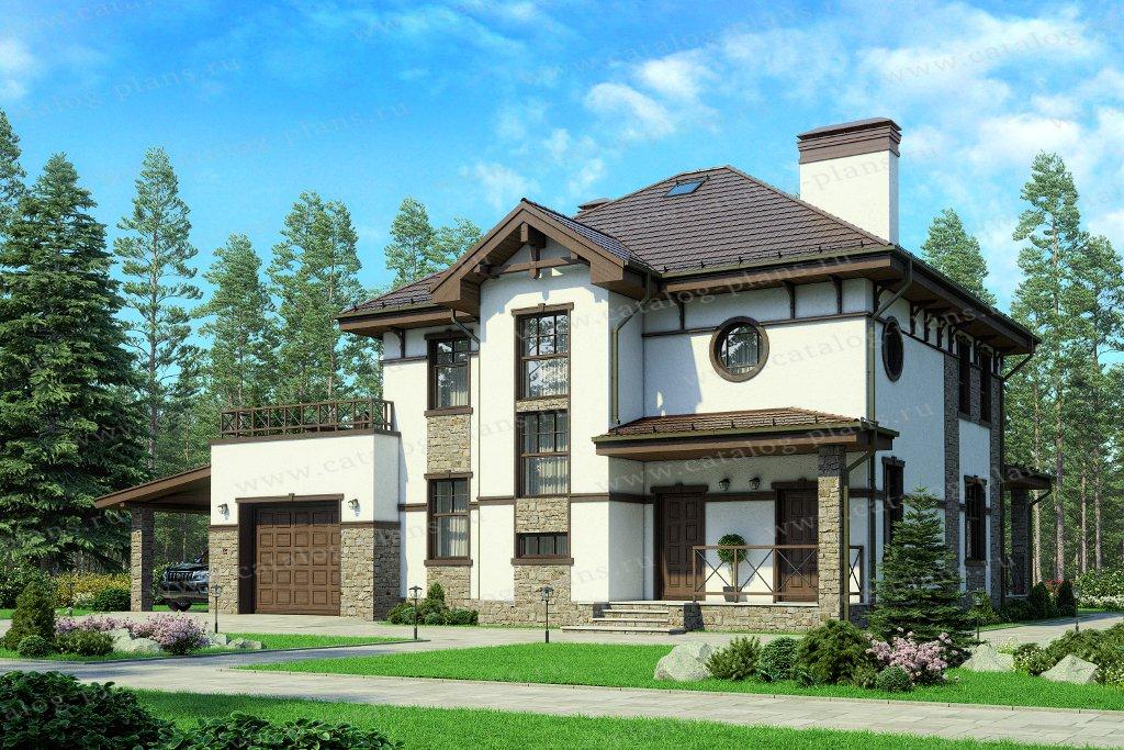 Проект жилой дом #57-20P материал - кирпич, стиль