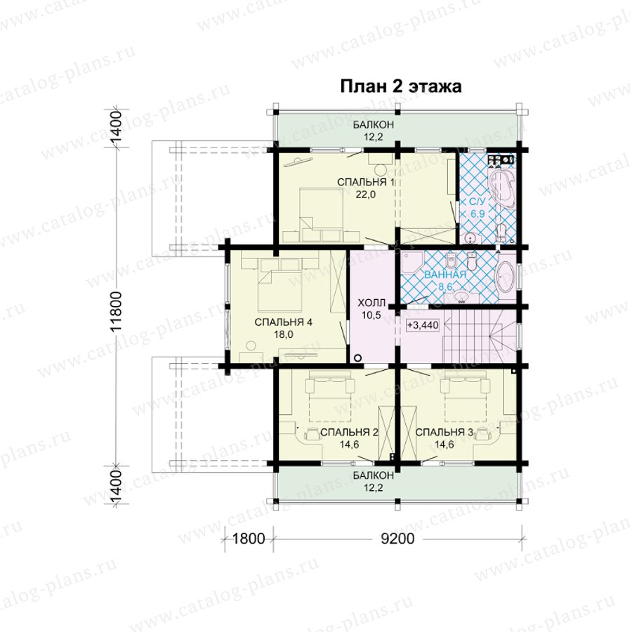 План 2-этажа проекта 13-78