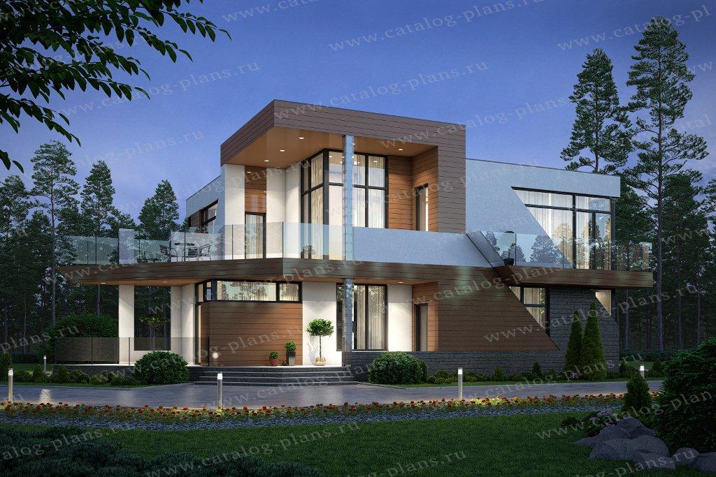 Проект жилой дом #40-94 материал - кирпич, стиль хай-тек