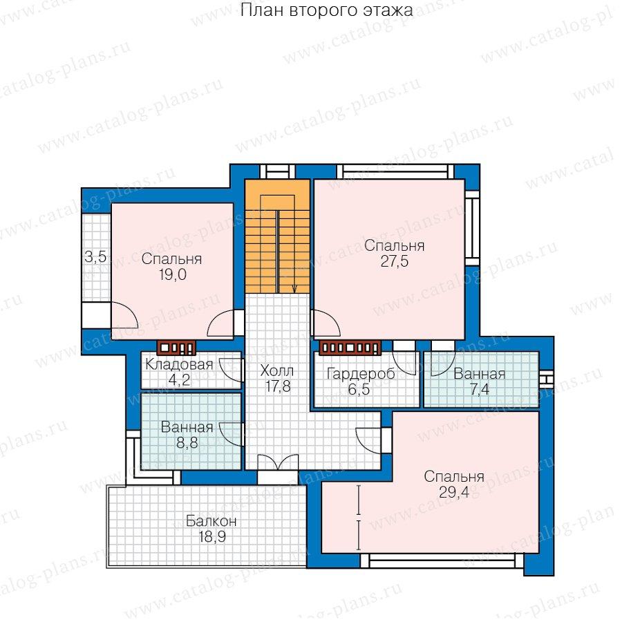 План 2-этажа проекта 40-93BBricks