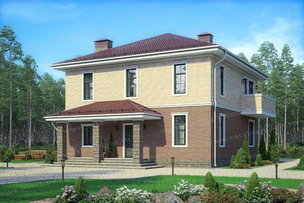 Проект жилой дом #57-05PL материал - кирпич, стиль европейский
