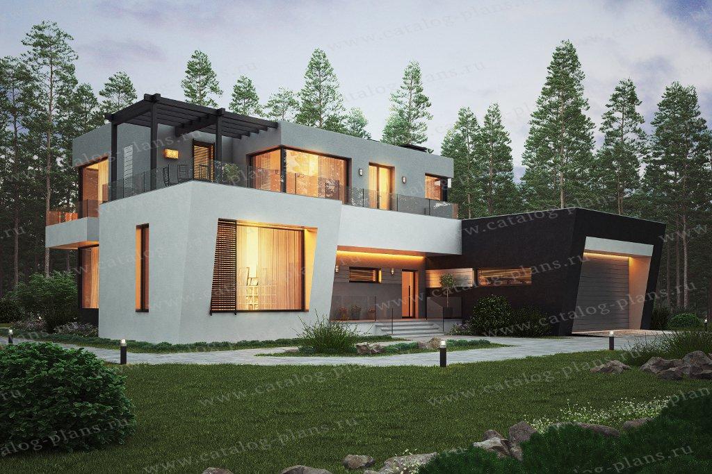 Проект жилой дом #40-95 материал - монолитный каркас с заполнением кирпичем, стиль