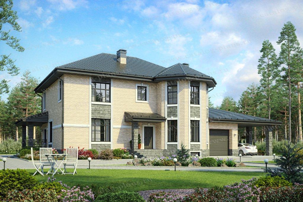 Проект жилой дом #48-29FL материал - газобетон, стиль европейский