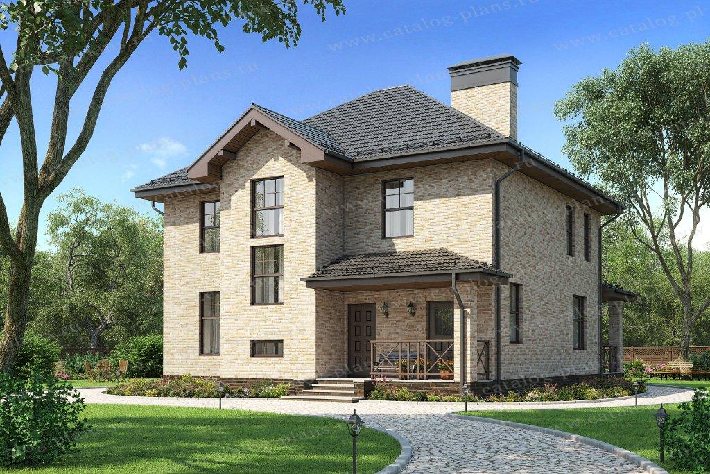 Проект жилой дом #57-20DL материал - газобетон, стиль европейский