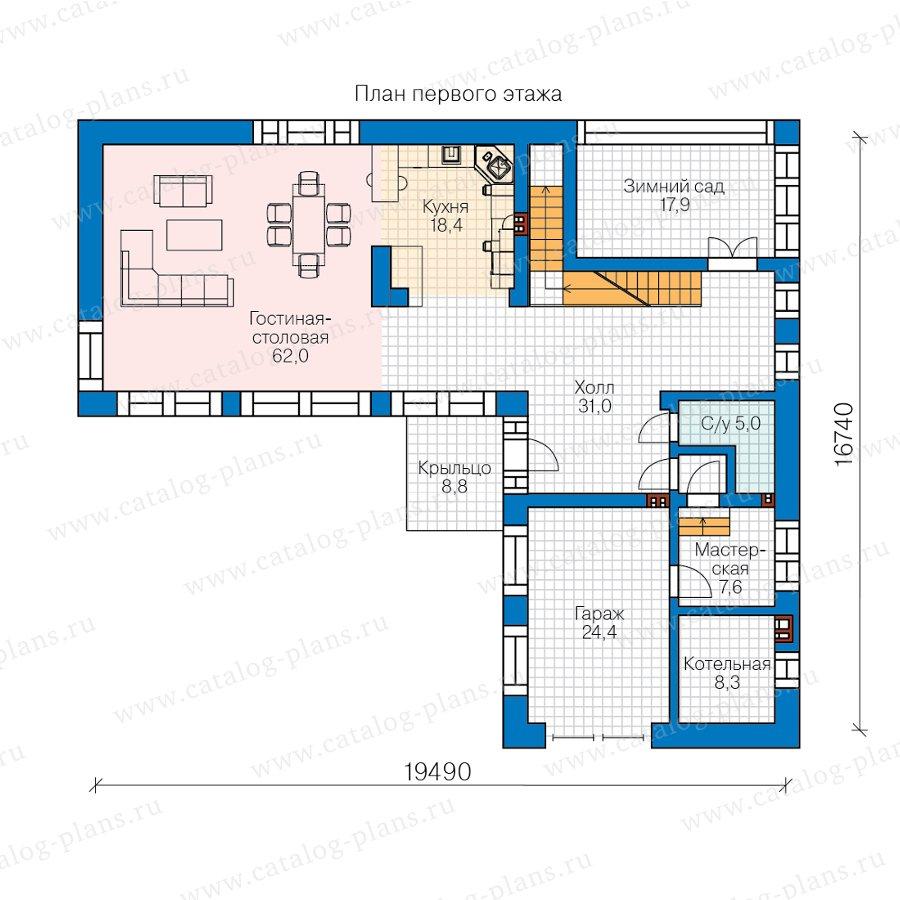 План 1-этажа проекта 40-97L
