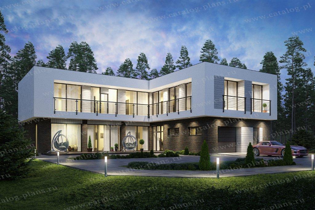 Проект жилой дом #40-97L материал - кирпич, стиль хай-тек
