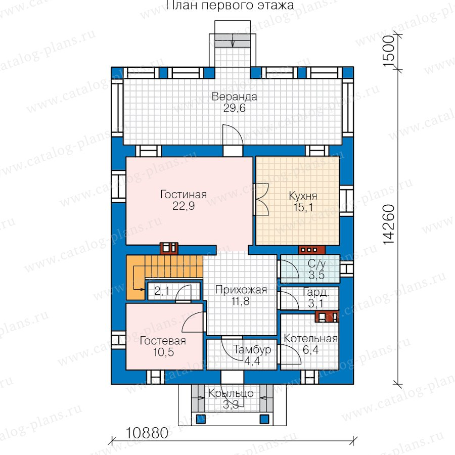 План 1-этажа проекта 57-05HL