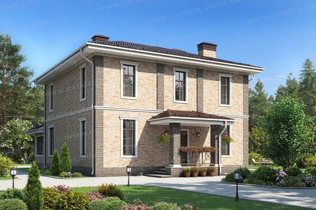 Проект жилой дом #57-05HL материал - кирпич, стиль