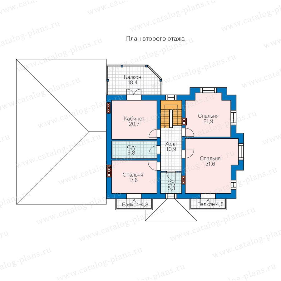 План 2-этажа проекта 40-74A