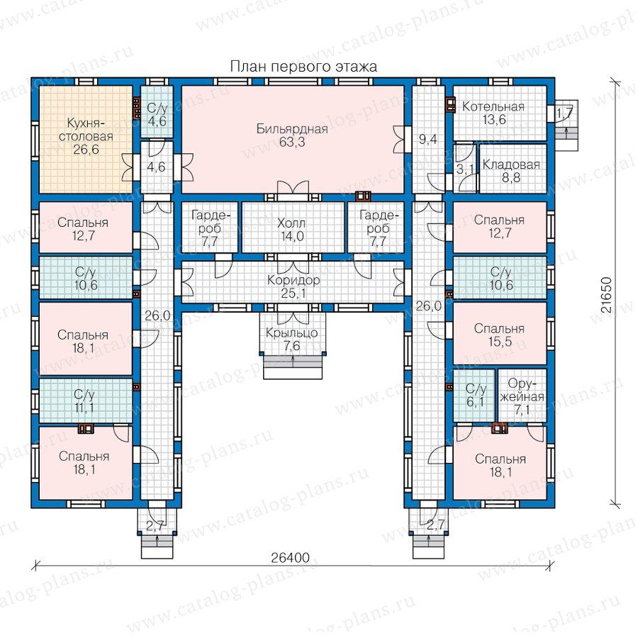 План 1-этажа проекта 62-13