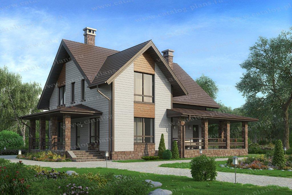 Проект жилой дом #59-62Кедрал материал - газобетон, стиль европейский