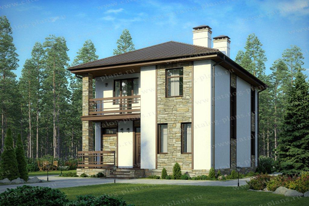Проект жилой дом #57-07D материал - газобетон, стиль современный