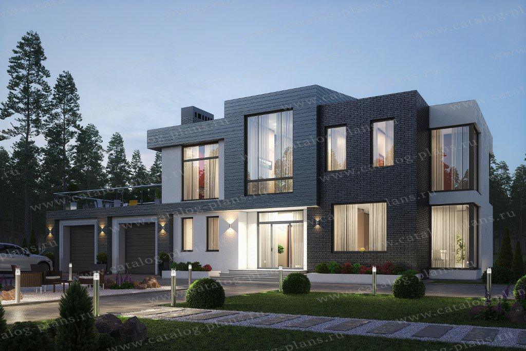 Проект жилой дом #40-86LКедрал материал - кирпич, стиль хай-тек