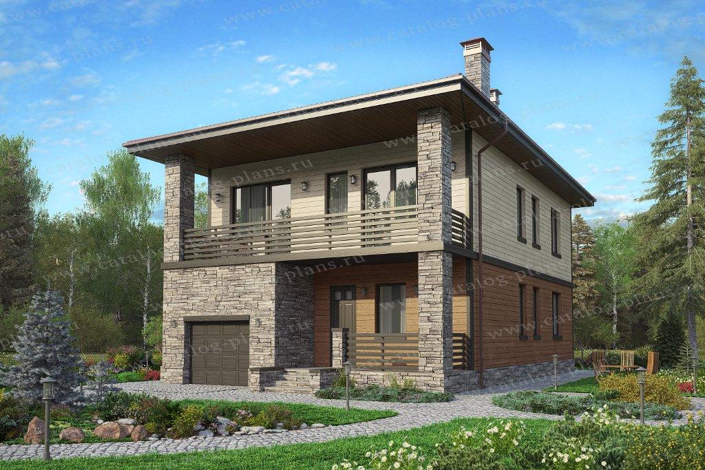 Проект жилой дом #59-90Кедрал материал - газобетон, стиль современный