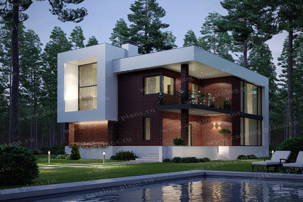 Проект жилой дом #40-93BBricks материал - кирпич, стиль хай-тек