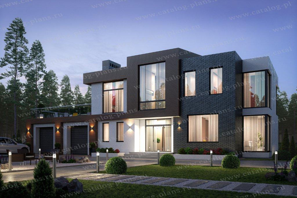 Проект жилой дом #40-86AL материал - кирпич, стиль хай тек