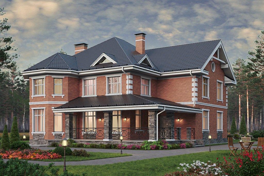 Проект жилой дом #57-74D материал - газобетон, стиль европейский