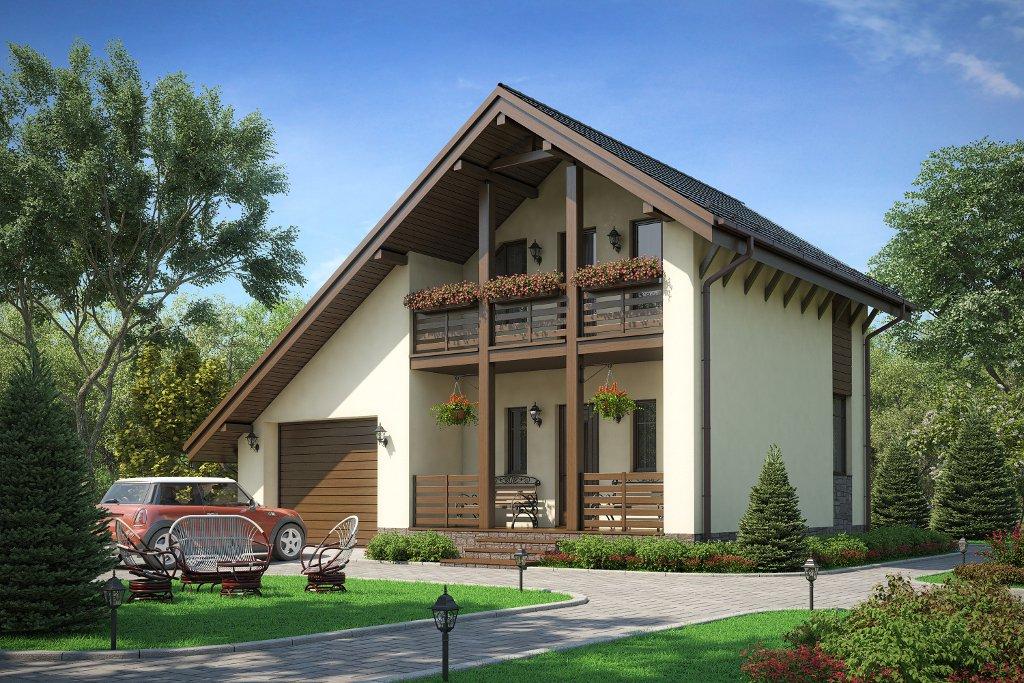 Проект жилой дом #58-56A материал - газобетон, стиль европейский