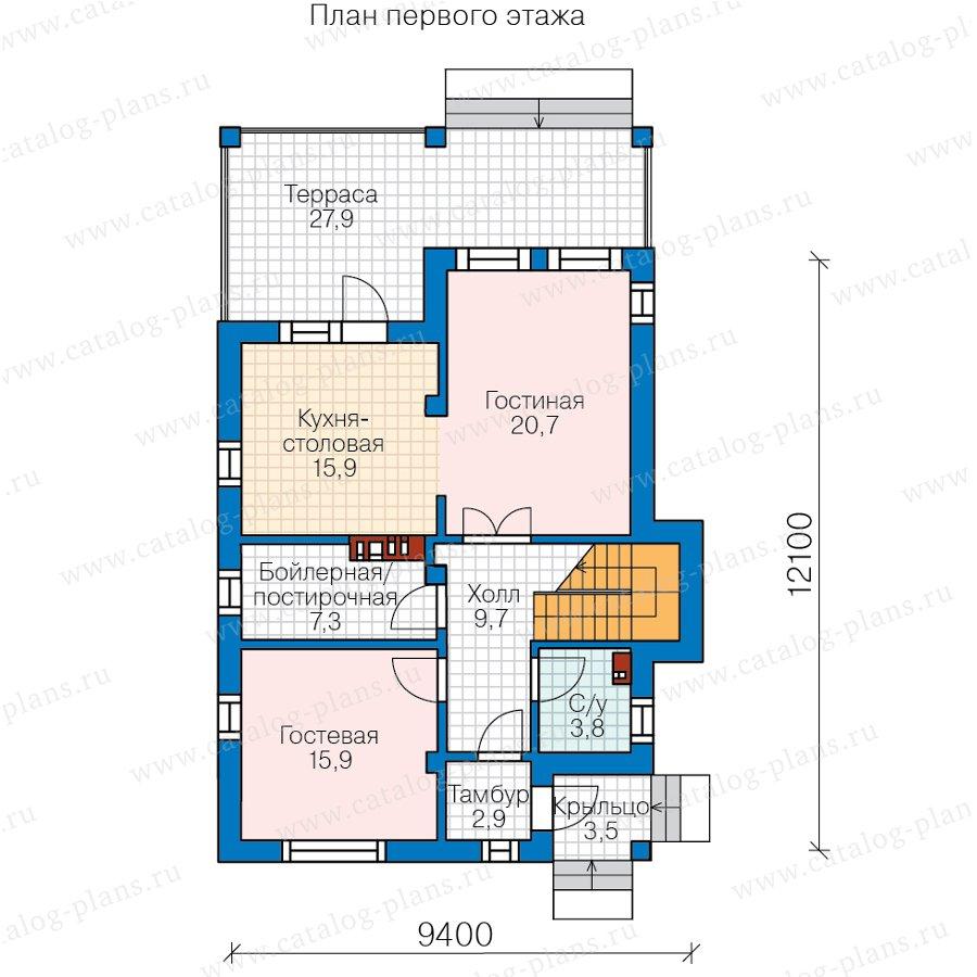 План 1-этажа проекта 58-45A