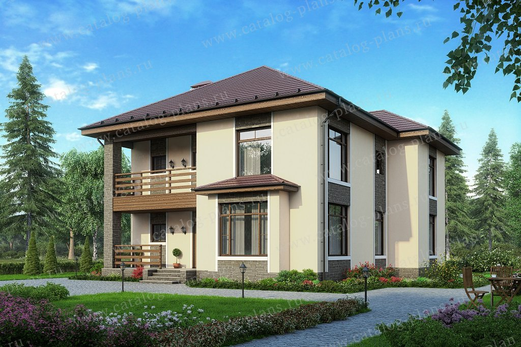Проект жилой дом #57-39D материал - газобетон, стиль современный