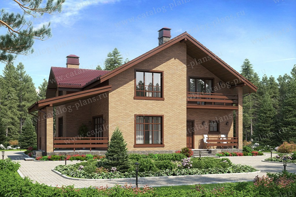 Проект жилой дом #57-63BL материал - газобетон, стиль европейский