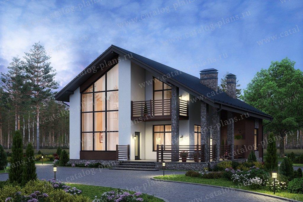 Проект жилой дом #58-09AK материал - кирпич, стиль современный