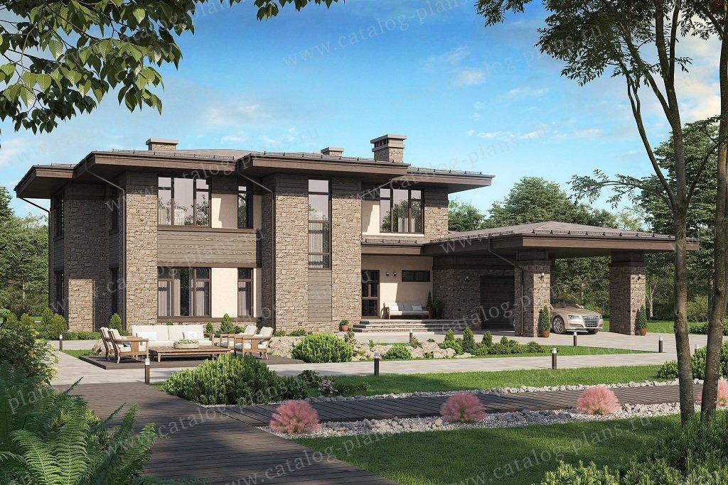 Проект жилой дом #45-04 материал - кирпич, стиль Райт