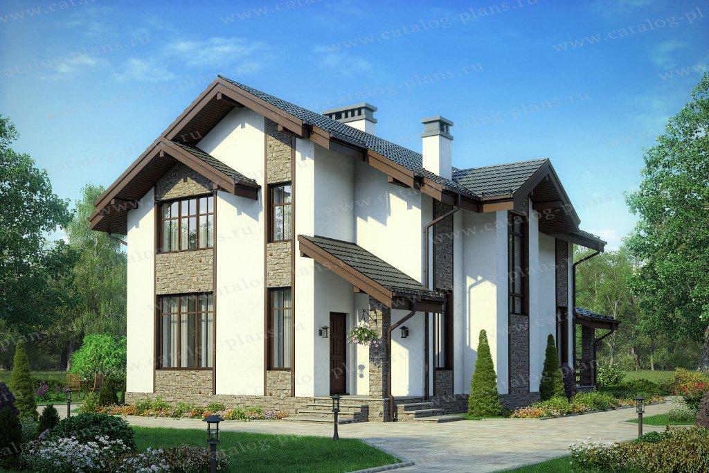 Проект жилой дом #58-45A материал - газобетон, стиль современный