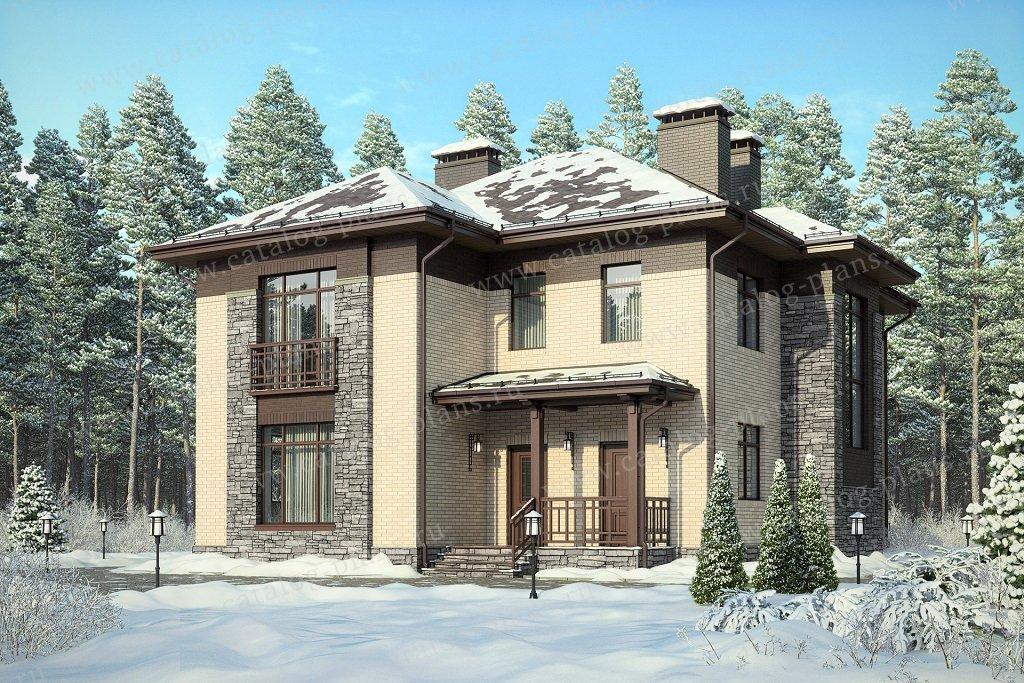 Проект жилой дом #47-72L материал - кирпич, стиль