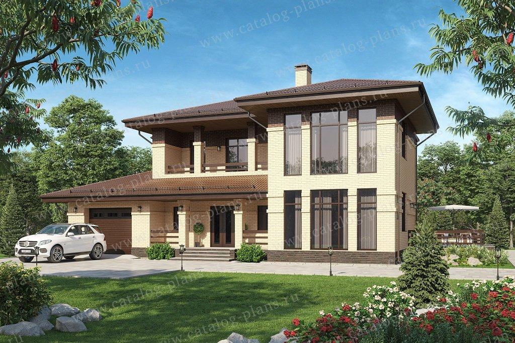 Проект жилой дом #58-10DL материал - газобетон,кирпич, стиль в стиле Райта