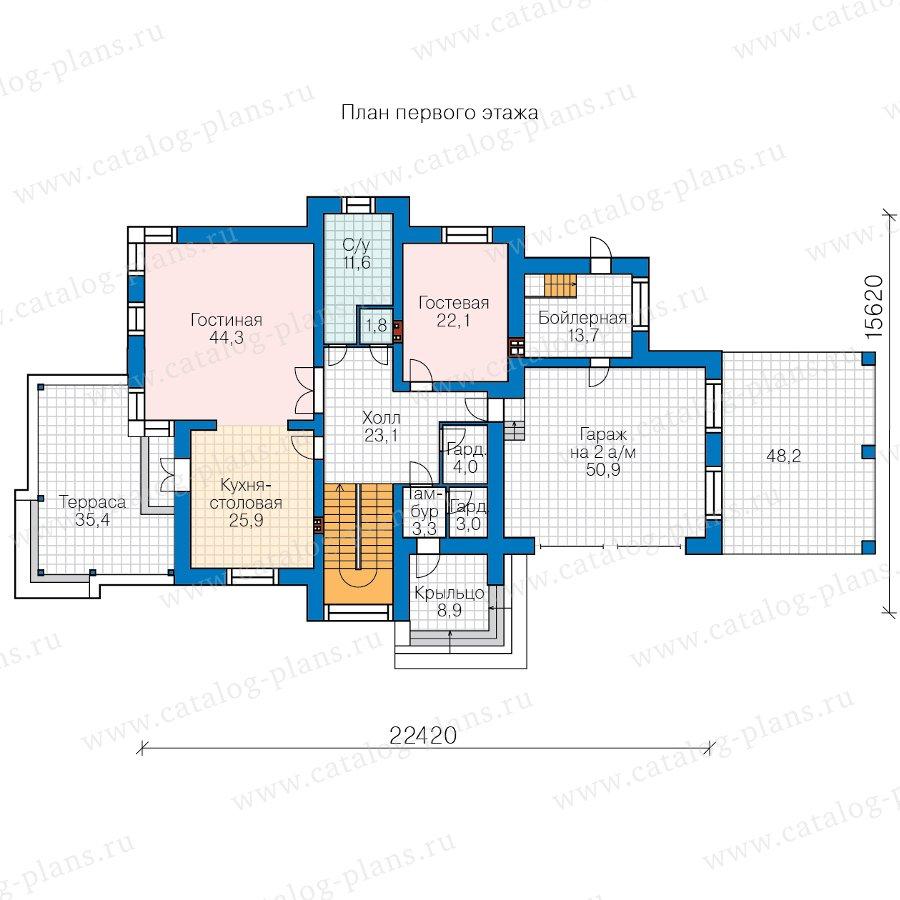 План 1-этажа проекта 48-30B