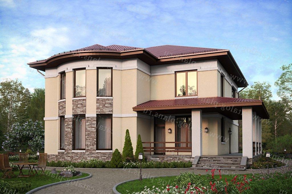 Проект жилой дом #57-60CKL материал - кирпич, стиль европейский